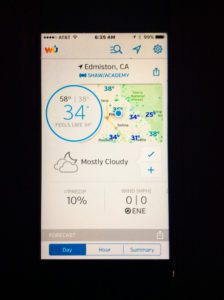 A cell phone with a weather app to help farming